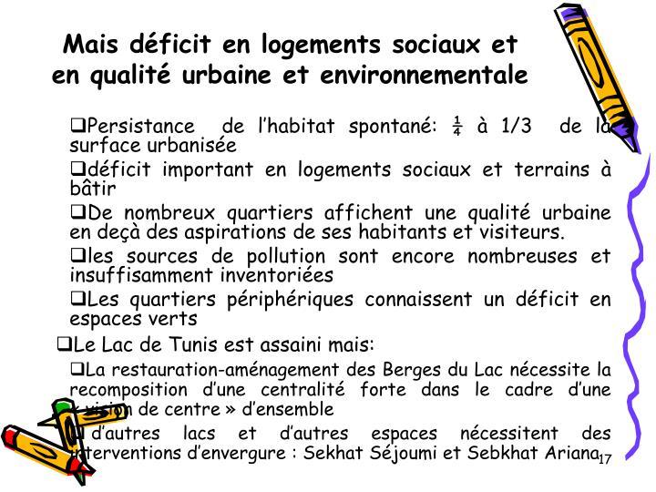 Mais déficit en logements sociaux et en qualité urbaine et environnementale