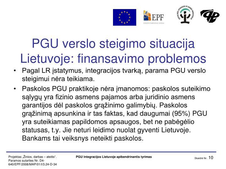 PGU verslo steigimo situacija Lietuvoje