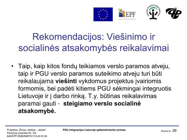 Rekomendacijos: Viešinimo ir socialinės atsakomybės reikalavimai