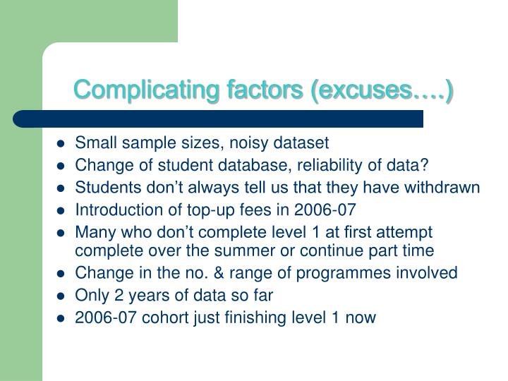 Complicating factors (excuses….)