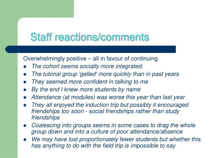 Staff reactions/comments