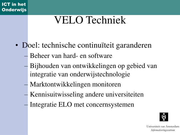 Doel: technische continuïteit garanderen