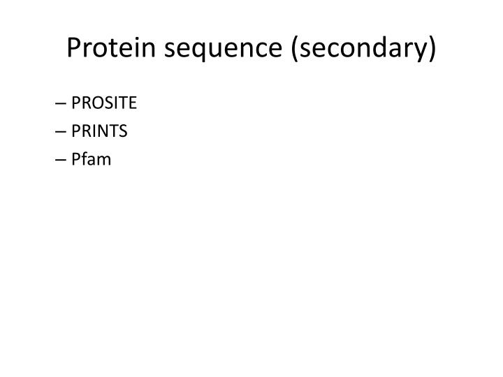 Protein sequence (secondary)