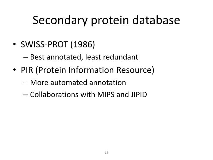 Secondary protein database