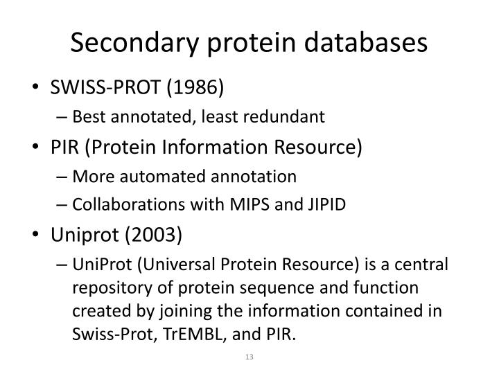 Secondary protein databases