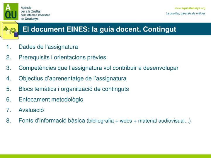 El document EINES: la guia docent. Contingut