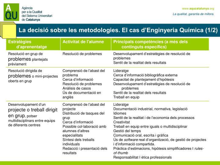 La decisió sobre les metodologies. El cas d'Enginyeria Química (1/2)
