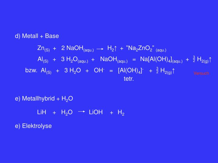 d) Metall + Base