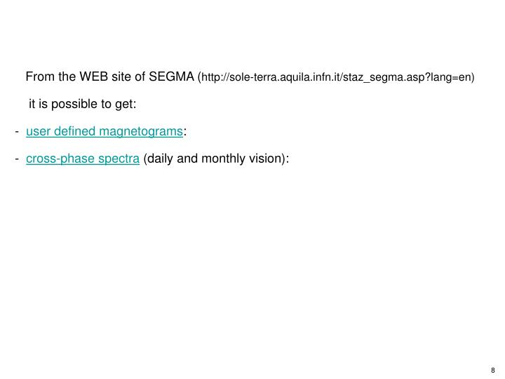From the WEB site of SEGMA (
