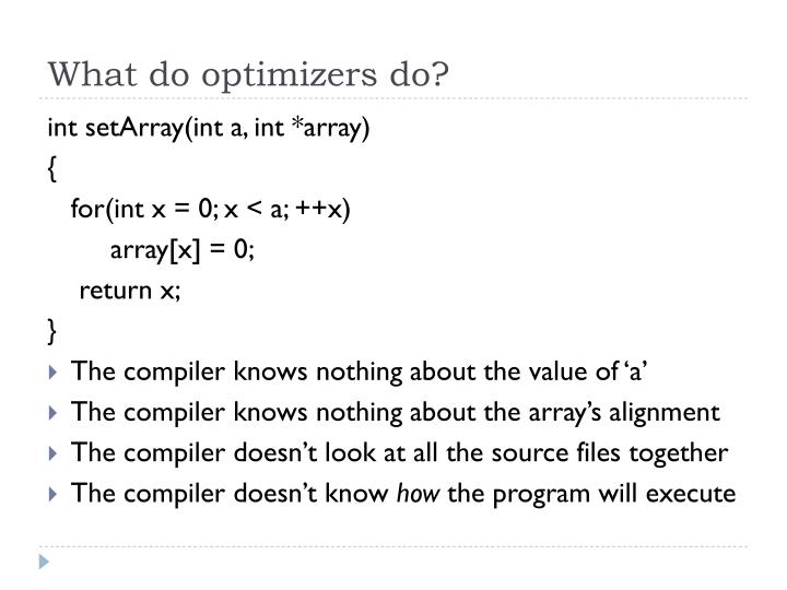 What do optimizers do?