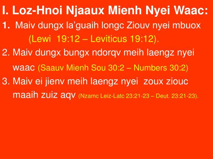 I. Loz-Hnoi Njaaux Mienh Nyei Waac: