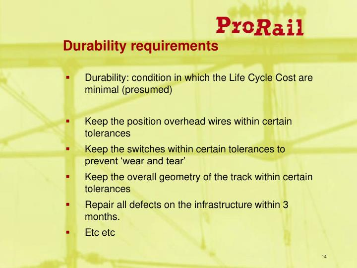 Durability requirements