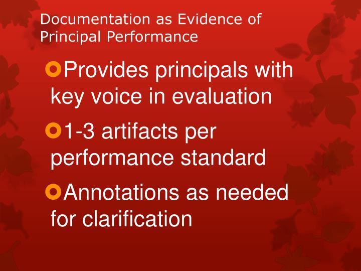 Documentation as Evidence of Principal Performance