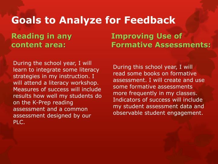 Goals to Analyze for Feedback