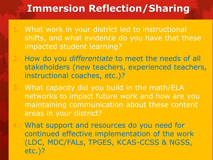 Immersion Reflection/Sharing