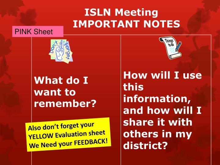 ISLN Meeting