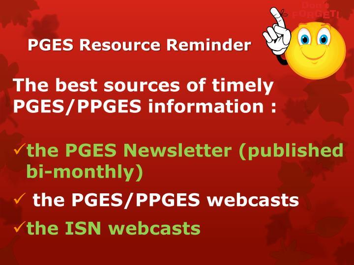 PGES Resource Reminder