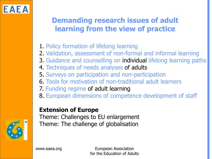 Demanding research issues of adult learning from the view of practice