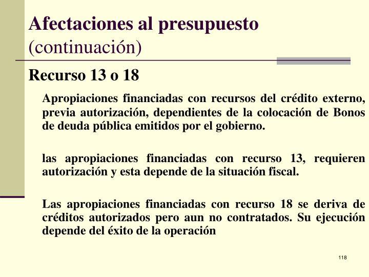 Afectaciones al presupuesto