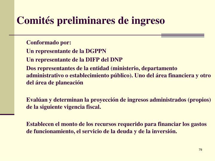 Comités preliminares de ingreso