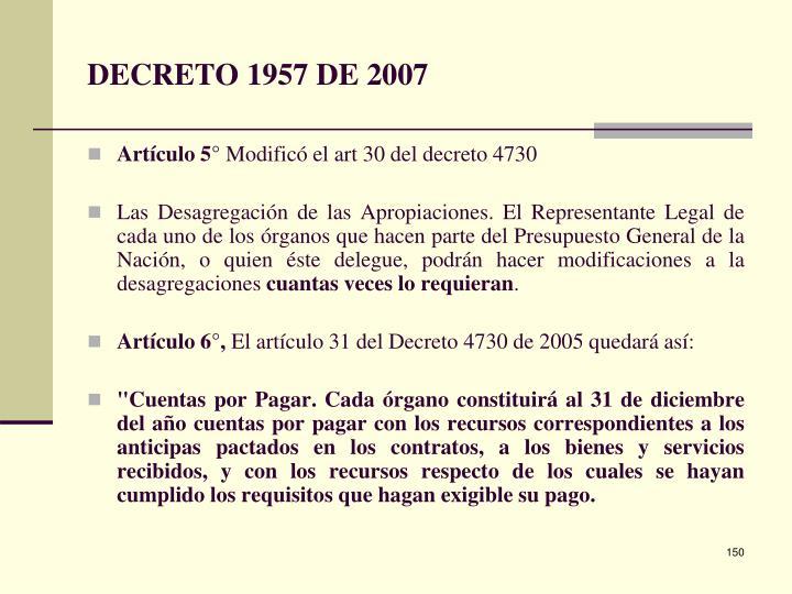 DECRETO 1957 DE 2007