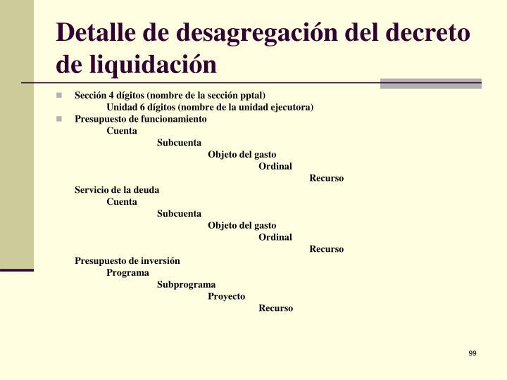 Detalle de desagregación del decreto de liquidación