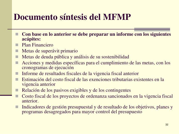 Documento síntesis del MFMP