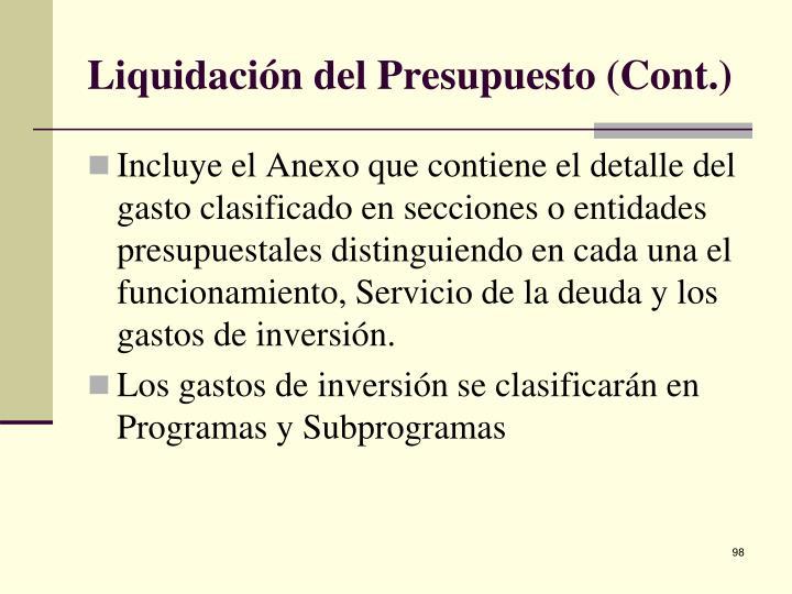 Liquidación del Presupuesto (Cont.)