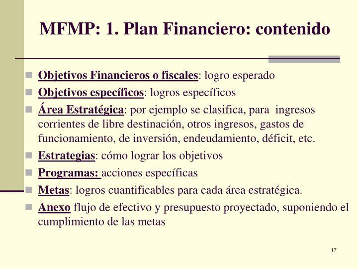 MFMP: 1. Plan Financiero: contenido