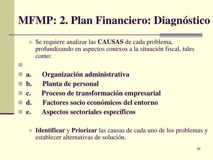 MFMP: 2. Plan Financiero: Diagnóstico
