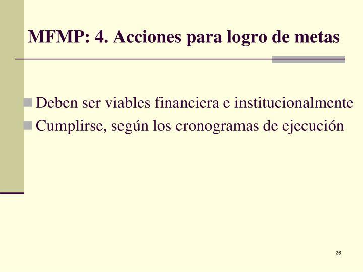 MFMP: 4. Acciones para logro de metas