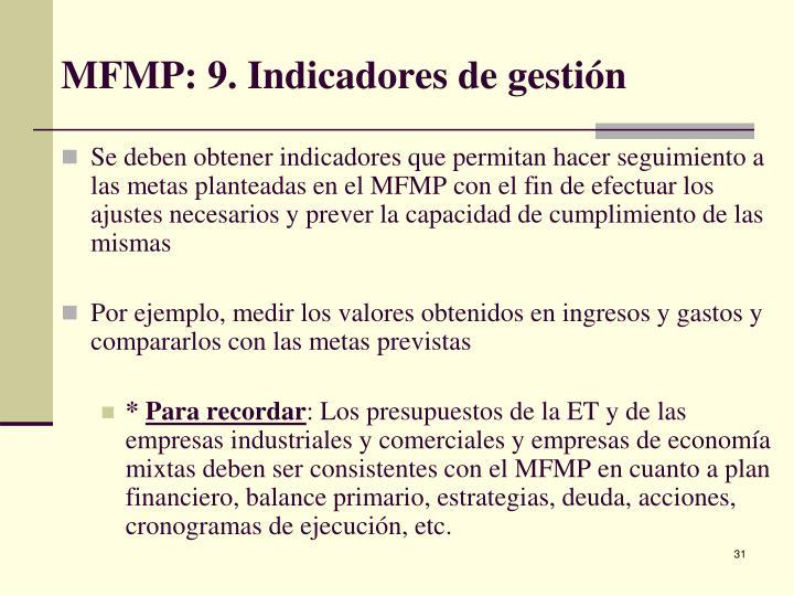 MFMP: 9. Indicadores de gestión