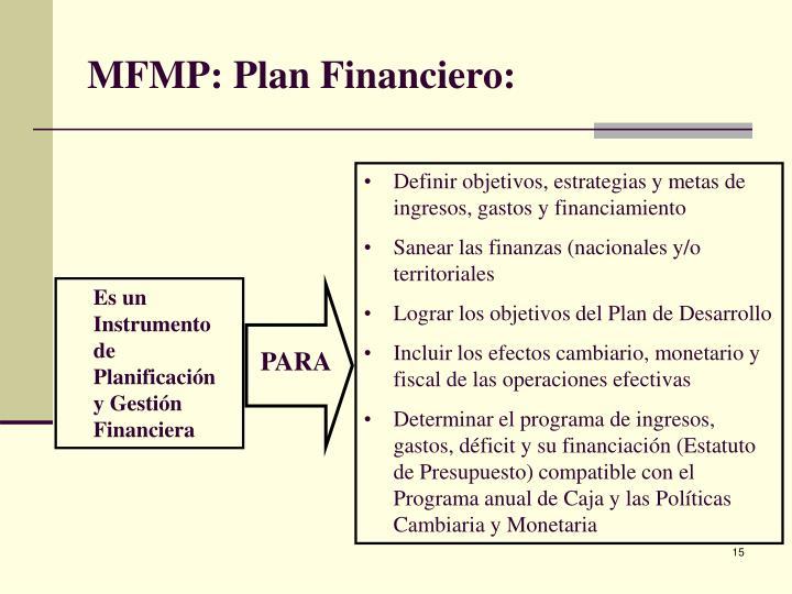 MFMP: Plan Financiero: