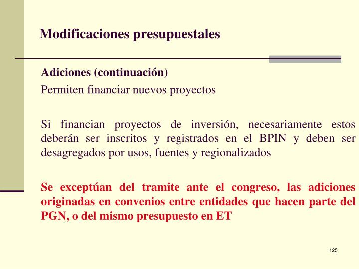 Modificaciones presupuestales