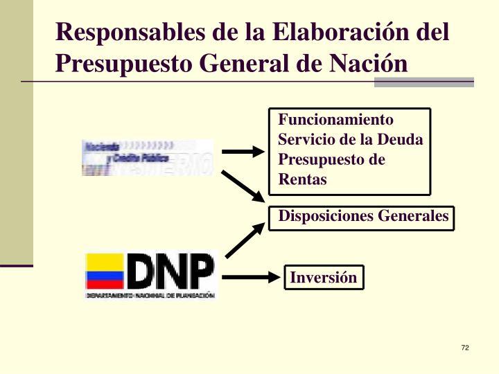 Responsables de la Elaboración del Presupuesto General de Nación