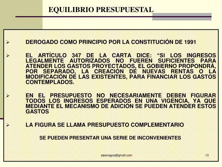 EQUILIBRIO PRESUPUESTAL