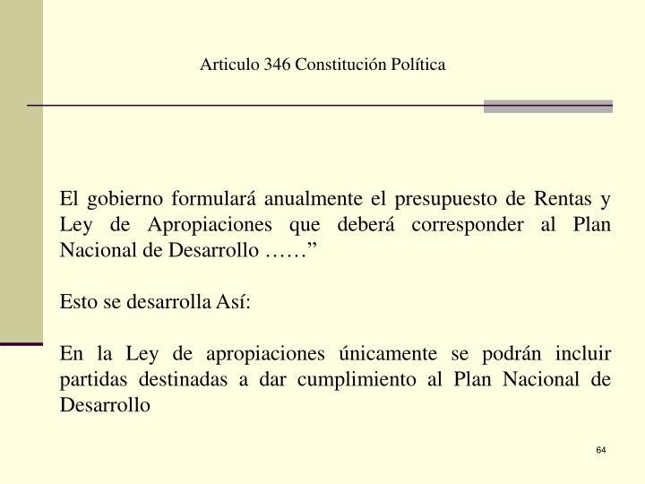 Articulo 346 Constitución Política