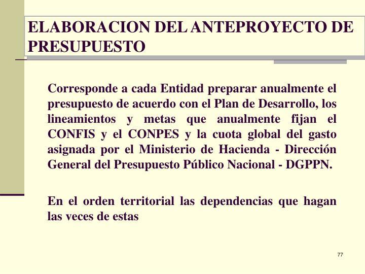 ELABORACION DEL ANTEPROYECTO DE PRESUPUESTO
