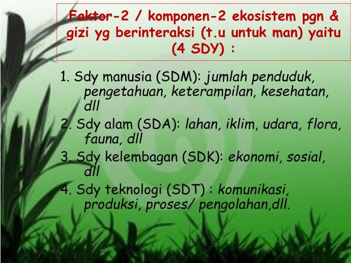 Faktor-2 / komponen-2 ekosistem pgn & gizi yg berinteraksi (t.u untuk man) yaitu (4 SDY) :