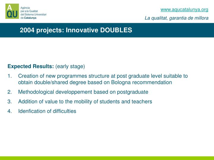 2004 projects: Innovative DOUBLES
