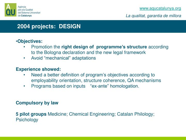 2004 projects:  DESIGN