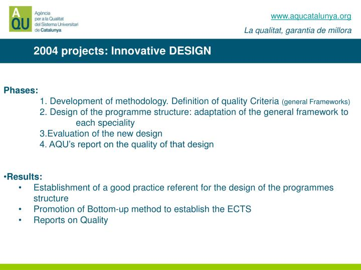 2004 projects: Innovative DESIGN