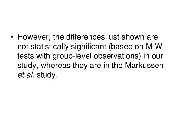 However, the differences just shown are not statistically significant (based on M-W tests with group-level observations) in our study, whereas they