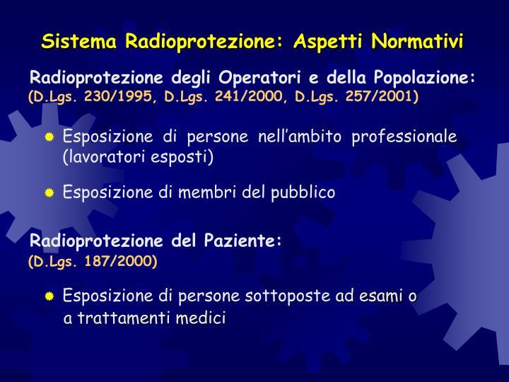 Sistema Radioprotezione: Aspetti Normativi
