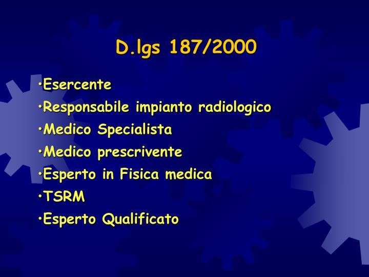 D.lgs 187/2000