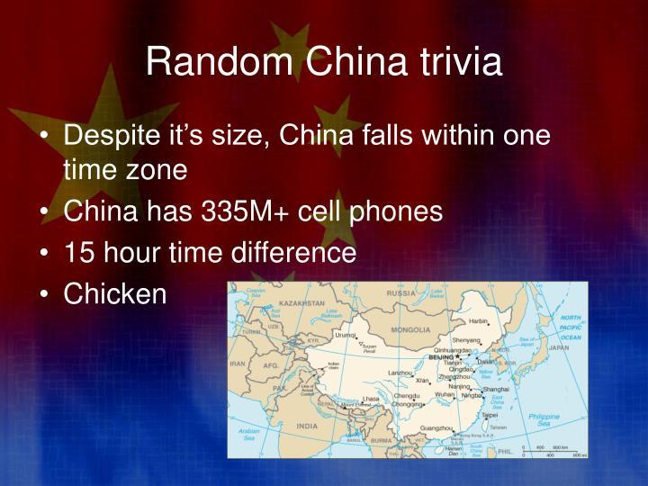 Random China trivia