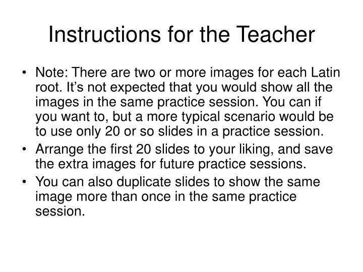 Instructions for the Teacher
