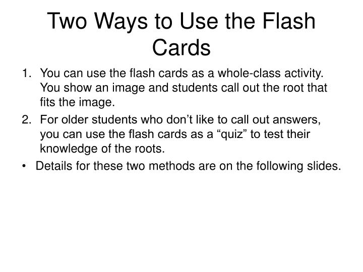 Two Ways to Use the Flash Cards