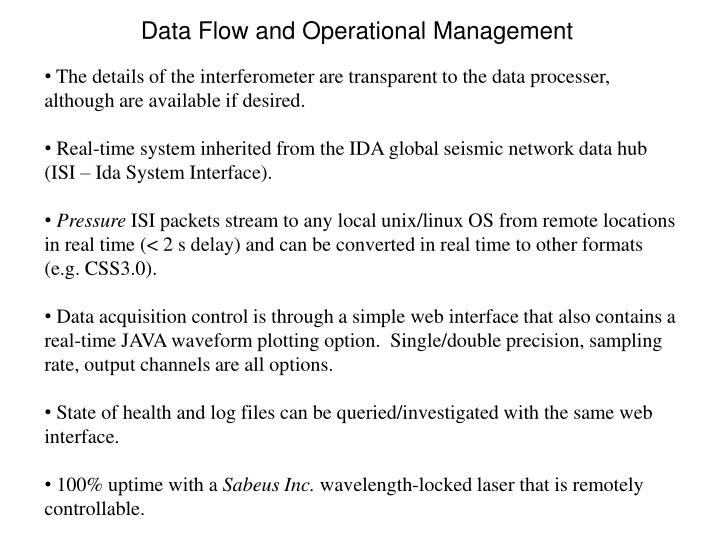 Data Flow and Operational Management