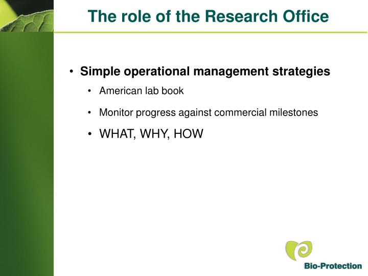 The role of the Research Office